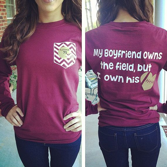 Football Girlfriend Shirt by GlitterDazzleShine on Etsy, $19.99