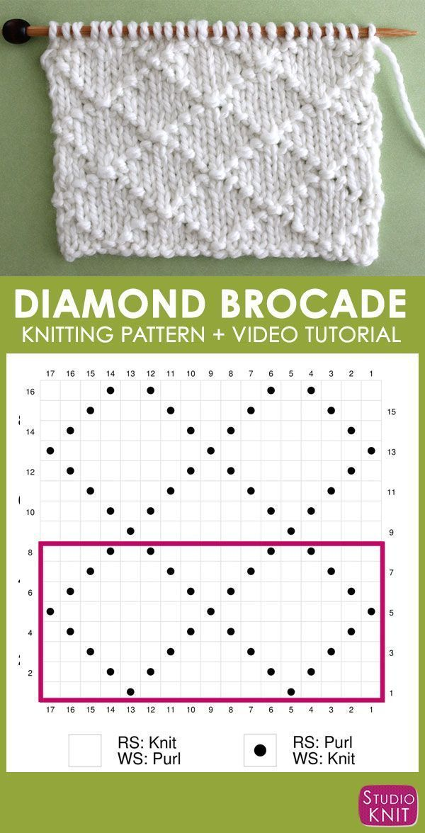 How to Knit the Diamond Brocade Knit Stitch Pattern | Studio Knit ...