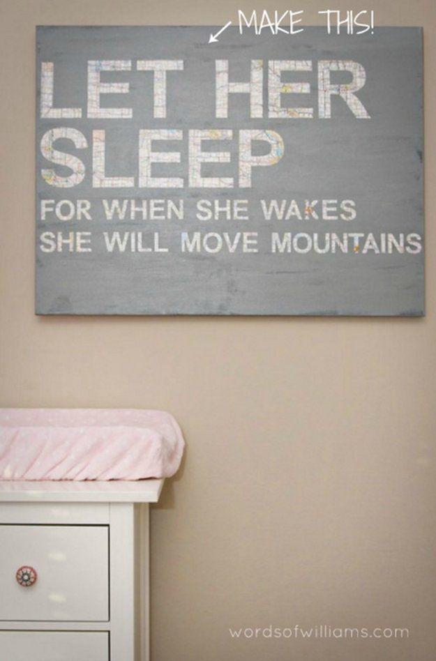 Let Her Sleep Nursery Art | DIY Nursery Decor | Home Improvement Ideas by DIY Ready at http://diyready.com/diy-nursery-decor/