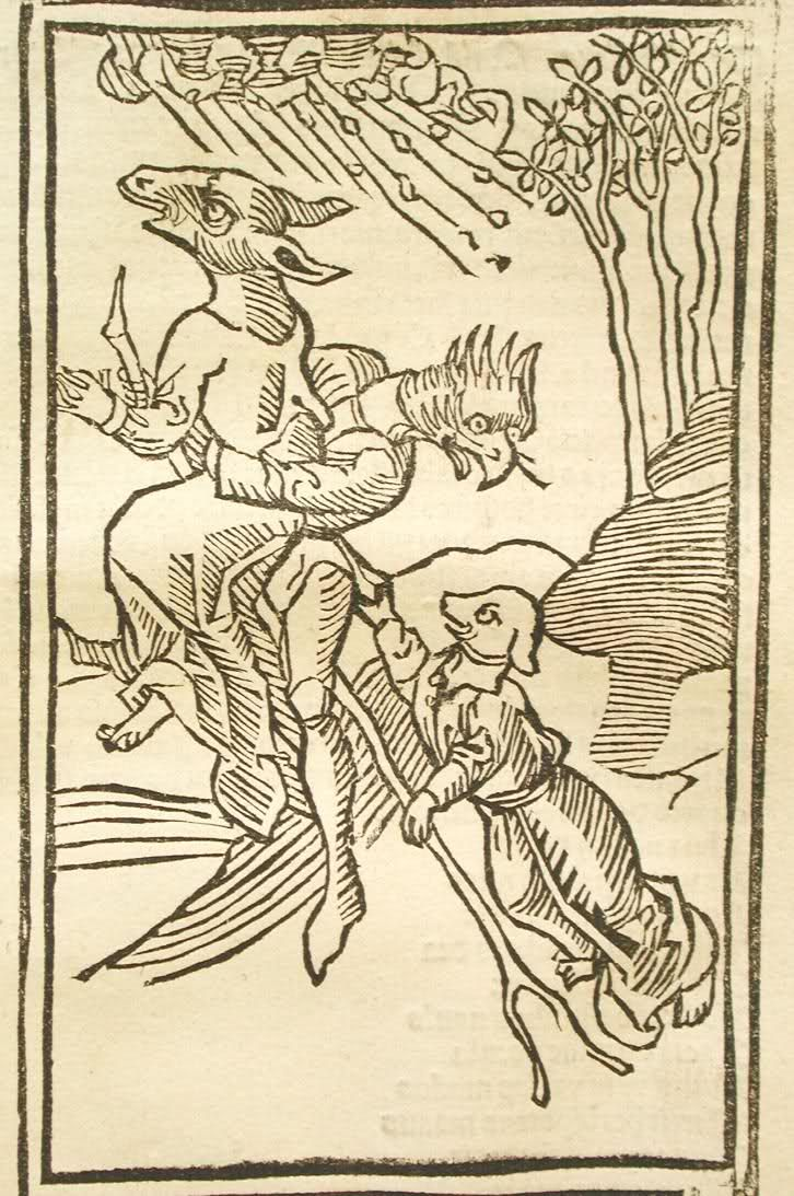 witches with animal heads flying. in another medieval woodcut