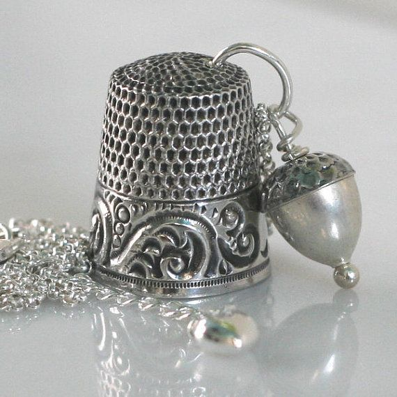 Sterling Silver Antique Thimble Necklace