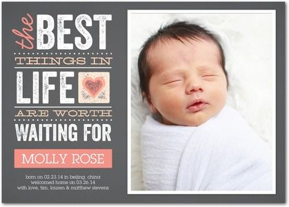 Worth the Wait: Sorbet - Adoption Photo Birth Announcements in Sorbet | Magnolia Press