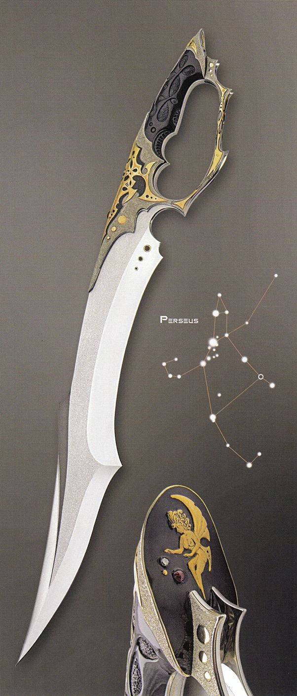 """""""Sirius Knight"""" (2004); """"Arcturus"""" (2004); """"Perseus"""" (2004)  by Jose C. de Braga    (from: Art and Design in Custom Fixed-Blade Knives; Dr. David Darom; Chartwell Books, 2007. - ISBN 13: 9780785822684)"""