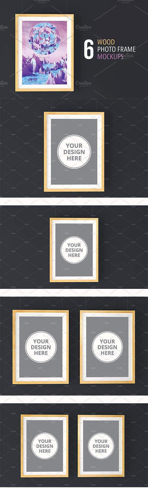 CreativeMarket  6 Wood Photo Frame Mockups 2219718 Free Download http://ift.tt/2Ge1XDu