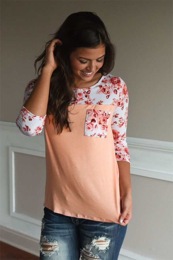 So Kissable in Peach ~ Floral Top – The Pulse Boutique
