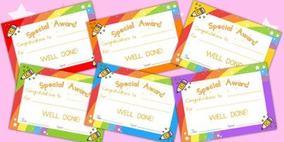 Preview: Special Award Certificates
