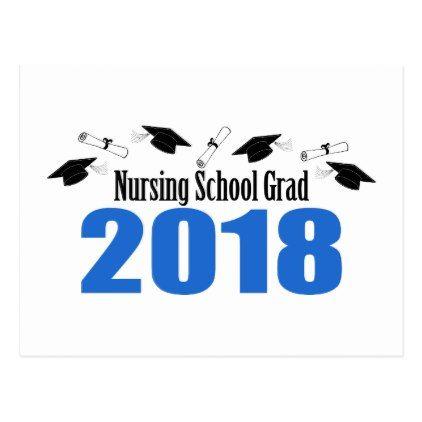 Nursing School 2018 Postcard Invite (Blue Caps) - graduation postcards cyo card giftideas gifts