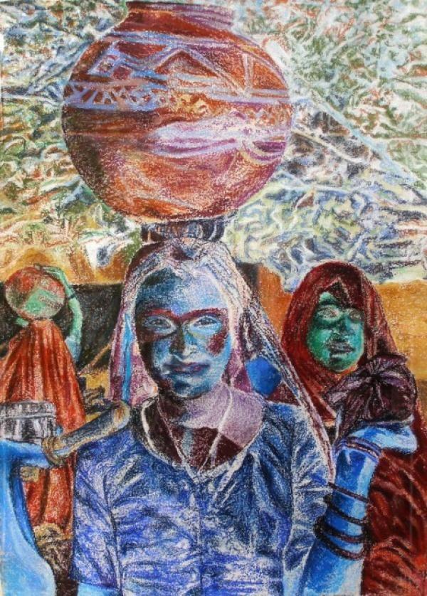 Waterdraagster van Sanneke S.I. Griepink, Blauw, Aardetinten Tekeningen. te vinden op www.artstudiosannneke.com