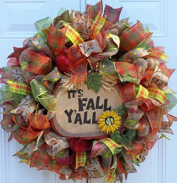 Fall Mesh Wreath-Fall Door Wreath-Fall by StudioWhimsybyBabs