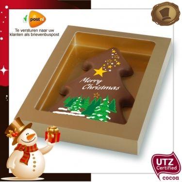 Kerstboom standaard /150 gram  Smaak / Melk of Pure chocolade.  Geschenkverpakking. Te bestellen vanaf 20 stuks. #chocolade #kerst #geschenlk