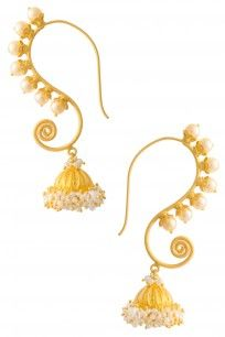 Gold Plated Umbrella Style Jhumki Drop Earrings #perniaspopupshop #Jomayana #Goldplated #ethnic #bridal #jewellery #shopnow #happyshopping