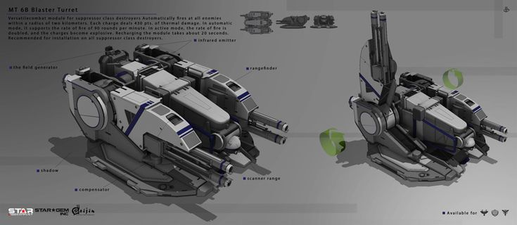 Versatile combat module for suppressor class destroyers. Automatically fires at all enemies within a radius of two kilometers. Each charge deals 430 pts. of thermal damage. In automatic mode, it supports the rate of fire of 90 rounds per minute. In active mode, the rate of fire is doubled, and the charges become explosive. Recharging the module takes about 20 seconds. Recommended for installation on all suppressor class destroyers.