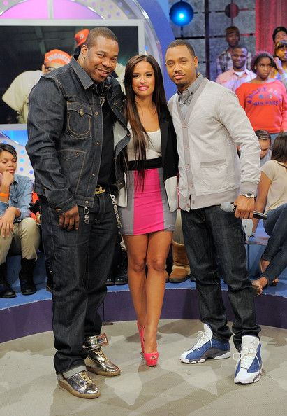 """Rocsi Diaz Photos Photos - Rapper Busta Rhymes with BET hosts Rocsi Diaz and Terrence J on the set of BET's """"106"""