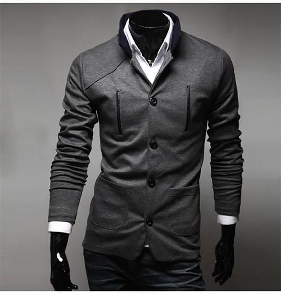 High Quality Men's Fashion Brand Blazer Slim Clothing Suit Stand Collar - 3 Colors-Men's Tops-Wickydeez