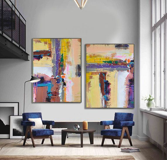set of 2 art on canvas hand painted large painting from cz art design