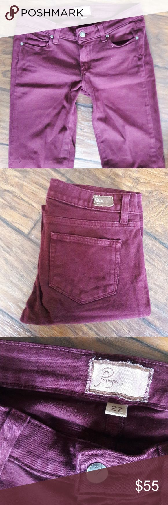 """Paige Maroon Skinny Jeans Size 27 Maroon colored Paige skinny jeans. Size 27.   Measures 15"""" across the waist + 31"""" inseam.   Material is 98% cotton + 2% spandex.   This is a used item: it has been inspected for quality + wear.   Bundle + save!! Offers welcome ☀️🍍☀️ PAIGE Jeans Skinny"""