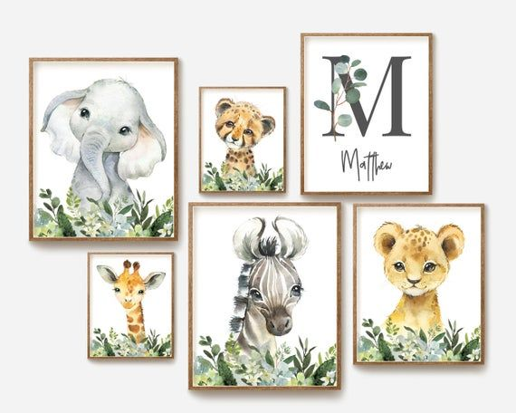 Safari Nursery Decor Baby Boy Nursery Wall Art Watercolor Animal Prints Kids Room Decor Childrens Jungle Elephant Giraffe Playroom Nursery Wall Art Boy Safari Nursery Prints Safari Animals Nursery