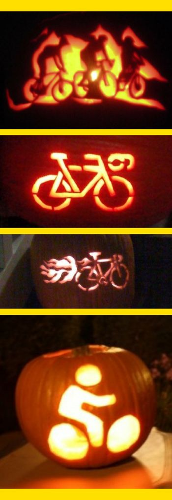 Bicycle-themed pumpkin carving pattern ideas for cyclists! Happy Halloween!