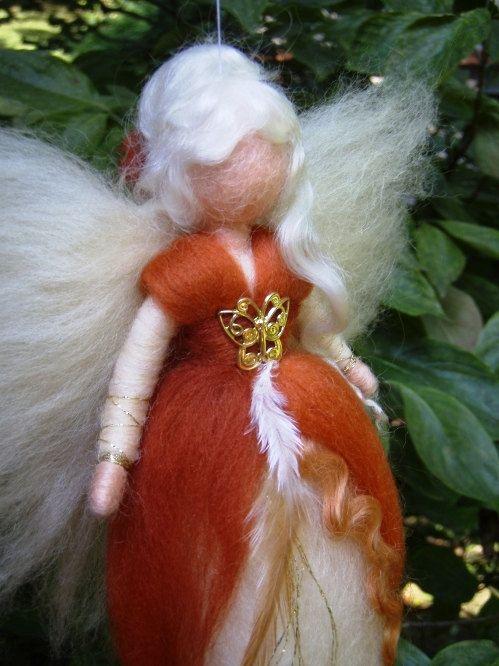 Hada aguja fieltro lana canela muñeca Angel hadas por Holichsmir
