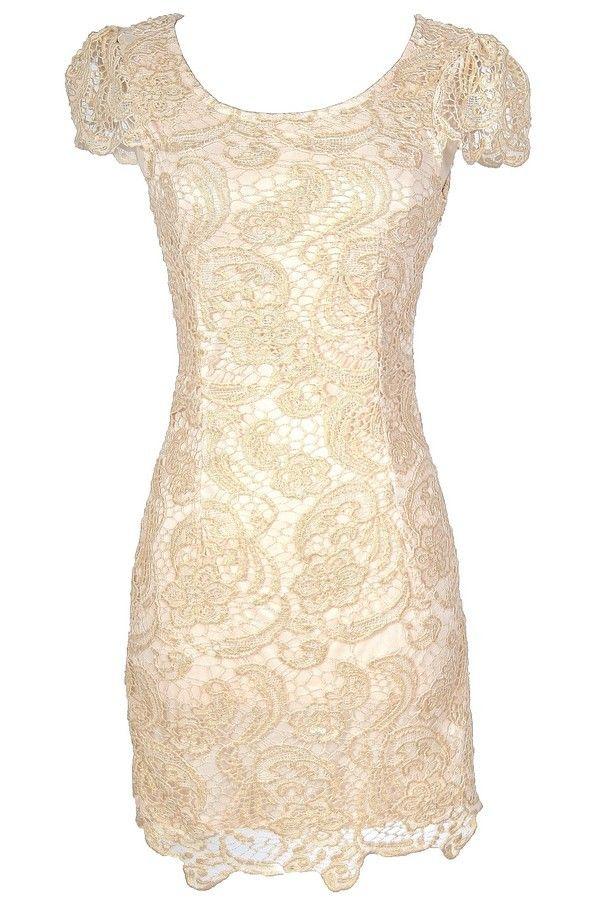 Nila Crochet Lace Capsleeve Pencil Dress in Beige Shimmer
