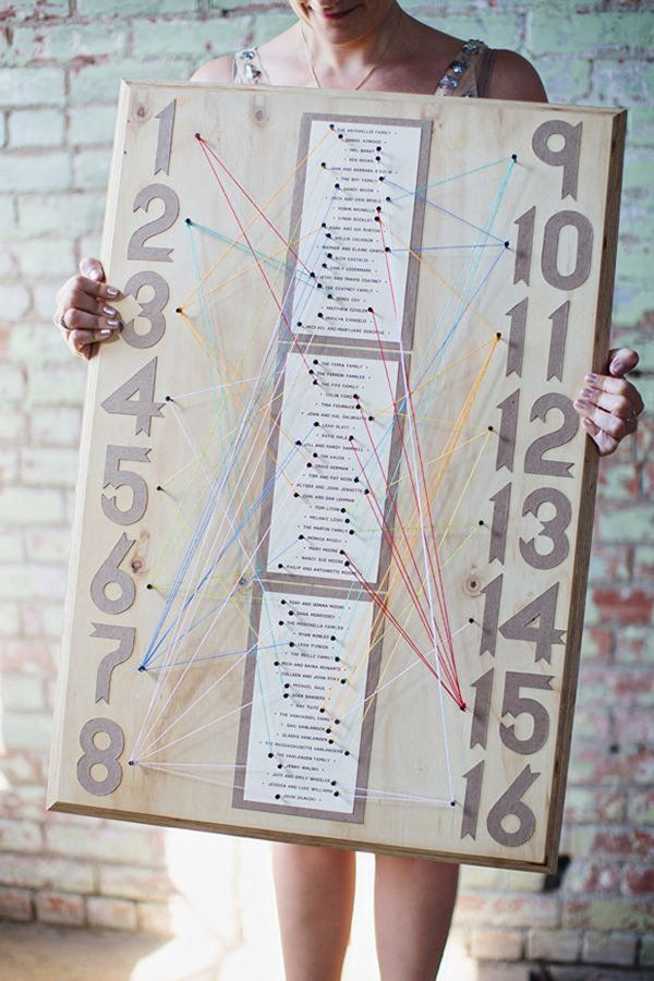 String art meets A Beautiful Mind with this brilliant seating chart. Connect each guest's name with color-coded string to the corresponding table. @myweddingdotcom