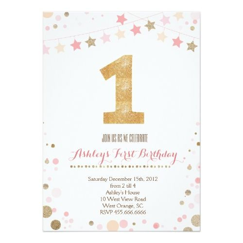 The 131 best glitter birthday party invitations images on pinterest glitter birthday party invitations gold glitter first birthday invitation filmwisefo