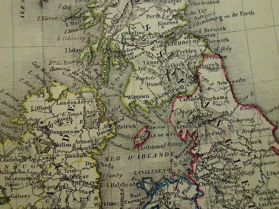 BRITAIN old map of Great Britain 1840 Original antique