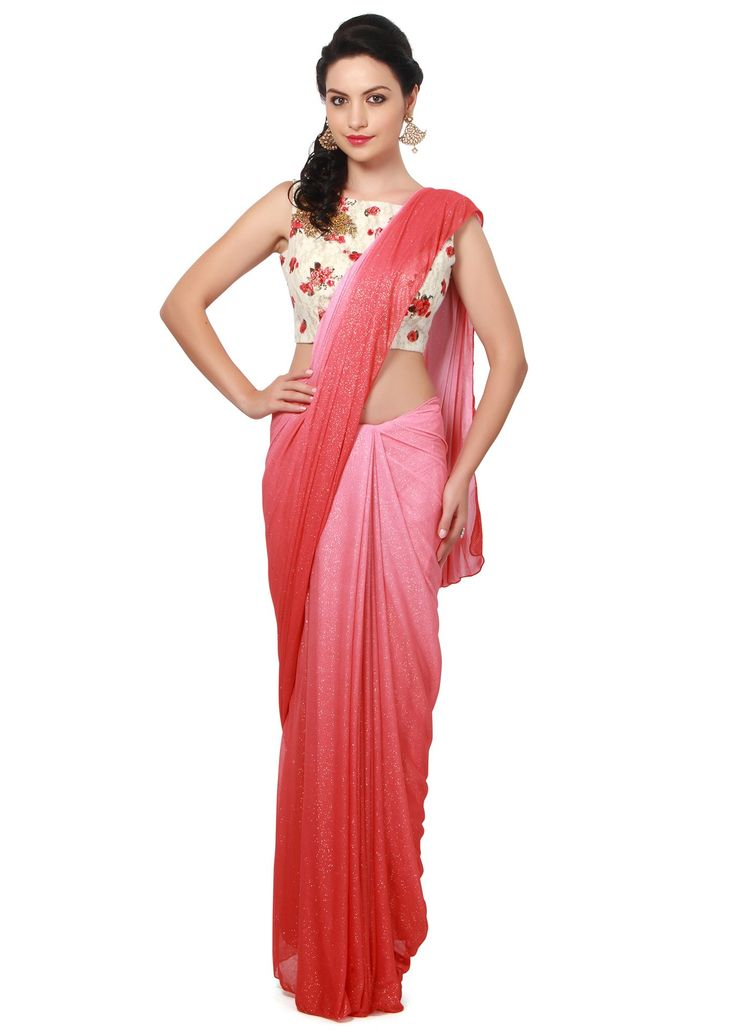 Plain saree, floral blouse
