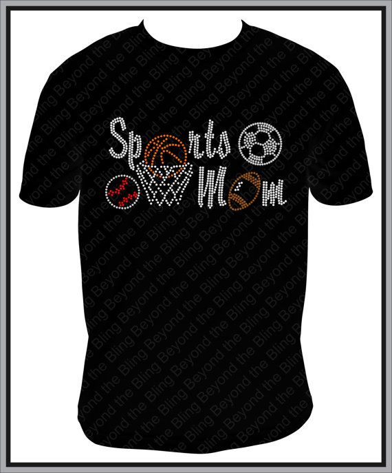 Rhinestone Sports Mom Shirt with Basketball by BeyondtheBlingUSA, $25.00
