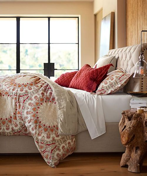 Valencia Contemporary Duvet Cover Valencia Contemporary Duvet Cover: A silk scarf from the 1860s Victorian era is re-imagined in vibrant hues with a contemporary look to create this bedding's lush, intricate design.