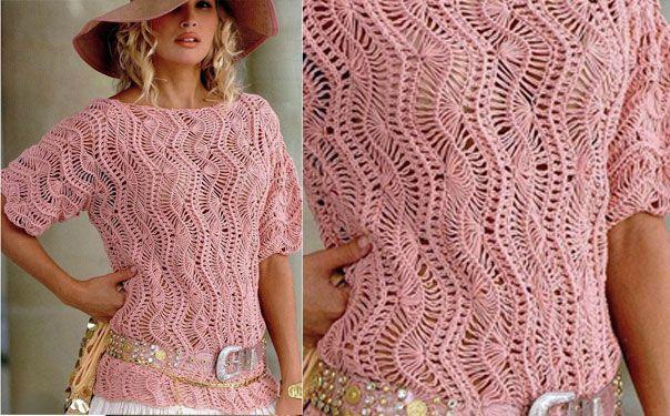 Розовый ажурный джемпер. Схема вязания