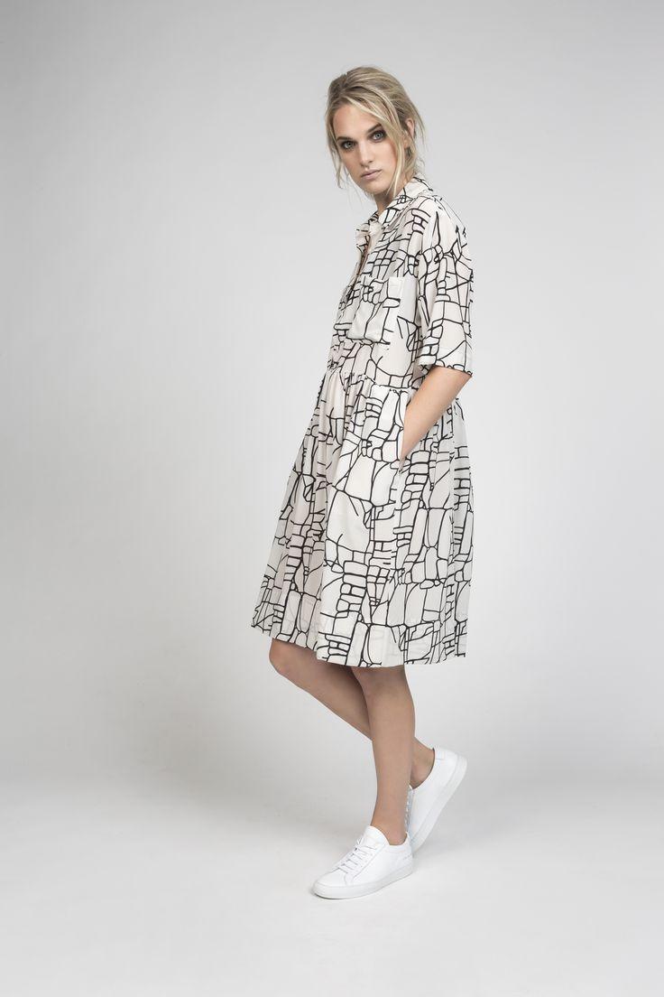 camille shirt dress in rock lines silk | desert storm s/s16