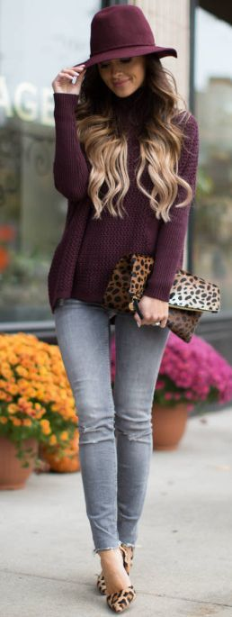 Gray pants burgundy maroon shirt leopard bag heels