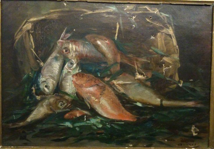 A RESTAURER XIXe signé / huile sur toile Nature Morte aux Poissons MARSEILLE/ 8P