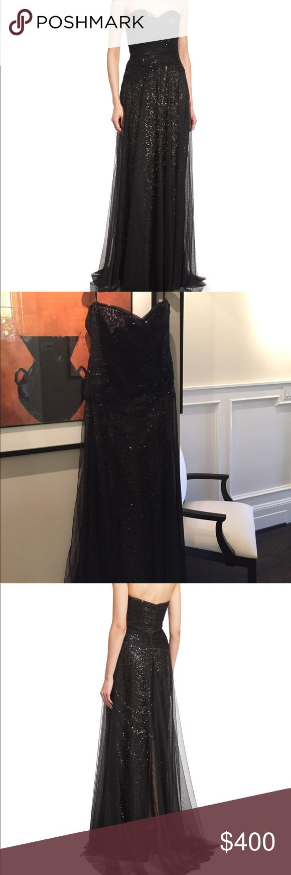 "Marchesa Dress This black sequin formal dress is an absolute stunner. It has a nude underlay. It has been worn only once for my daughter's wedding. It was purchased at Bergdorf Goodman. I am 5'7"" and has been hemmed to be my height PLUS 4"" heels. So plenty of length Marchesa Dresses"