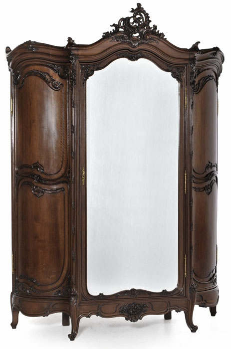 Grand Regence Walnut Triple Armoire #furniture #antiques #armoire REFRIGERATOR IDEA. I LIKE THE CURVED SIDES.