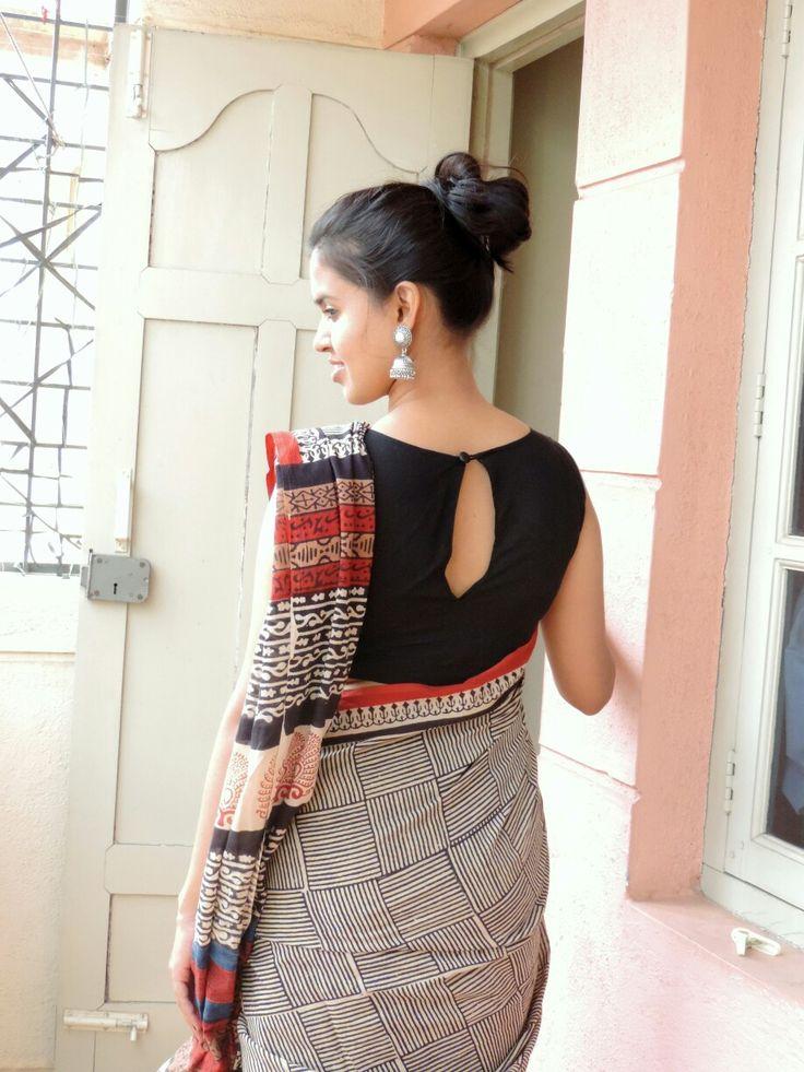 Kalamkari saree paired with black boat neck blouse #kalamkari #oxidizedjumka #love