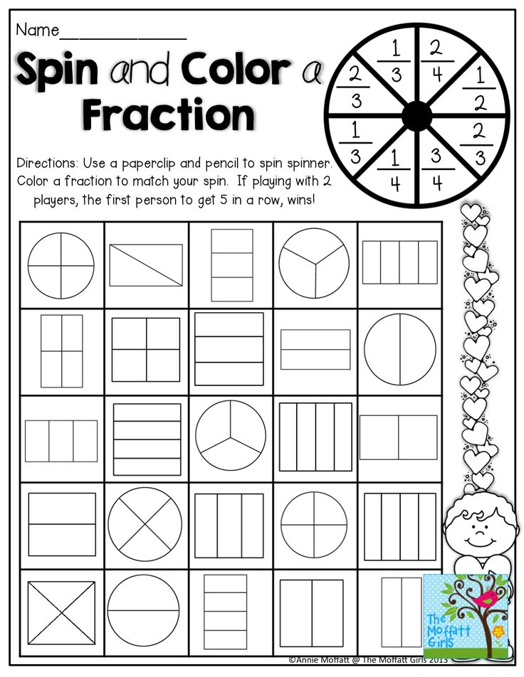 spin and color a fraction tons of hands on and fun printables 3rd grade math pinterest. Black Bedroom Furniture Sets. Home Design Ideas