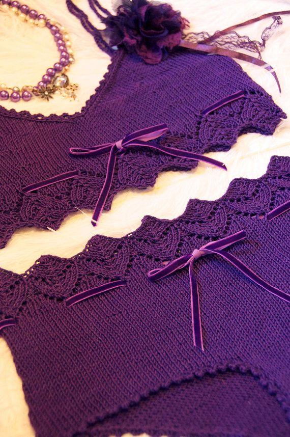Pretty Little Knickers Purple Lace Lingerie KNITTING by girlyknits, $7.00