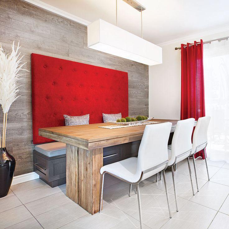 Que ce soit pour le coin-repas ou pour la salle à manger, la banquette à la cote. Ici, cette banquette très design et confortable permet d'accueillir plus de convives et procure, en prime, du rangement.