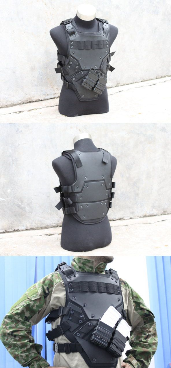 Compact armor plating that appears to be bullet resistant and can also carry two extra mags of ammo,and it's black cause ninja.