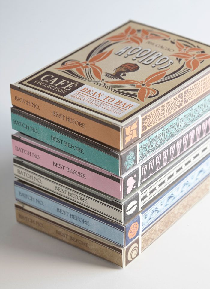 Inspired by the Art Nouveau style, Jane Says - Collection of coffee infused Chocolate Bars by DV Chocolate.
