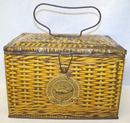 Old Antique Pattersons Seal Cut Plug Tobacco Store Advertising Lunch Box Tin