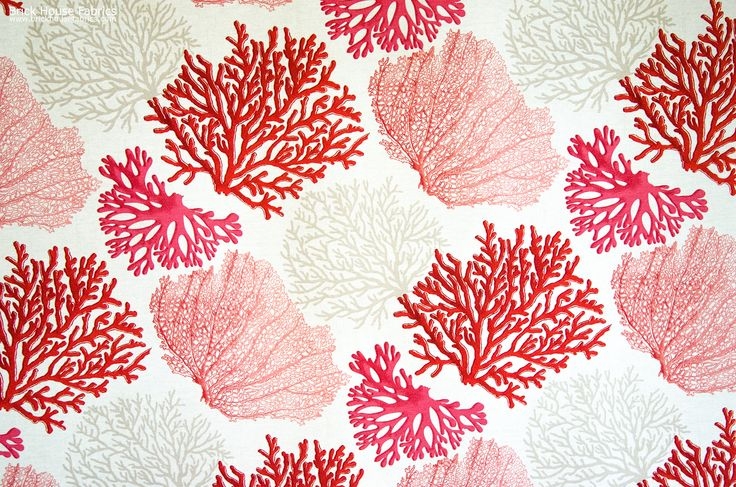 A coral fabric with orange, pink, and salmon coral trees. An interesting ocean coral fabric for those who want something a bit different.