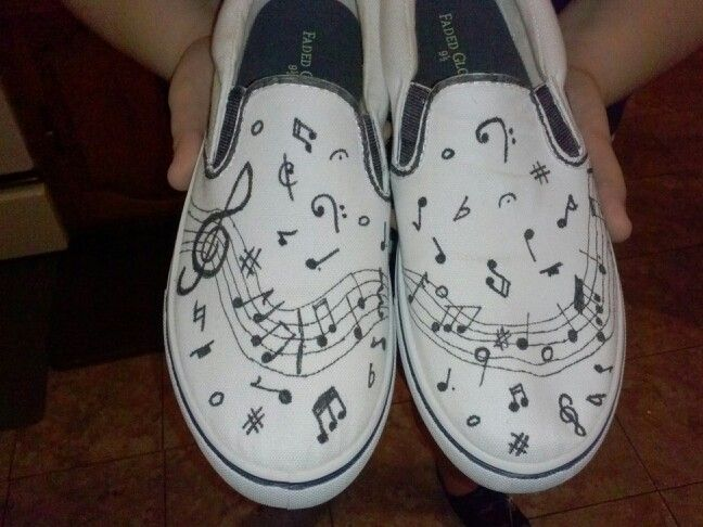 Music notes on canvas shoes  done with sharpie markers
