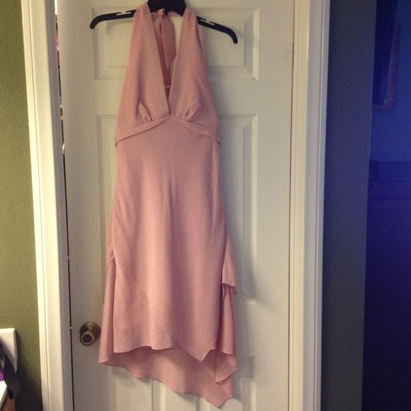 Liz Minelli soft rose dress Soft rosé colored dress , size Medium, worn twice, halter top dress bottom gets bit longer on the back, love this color love this dress💜, side zipper Dresses