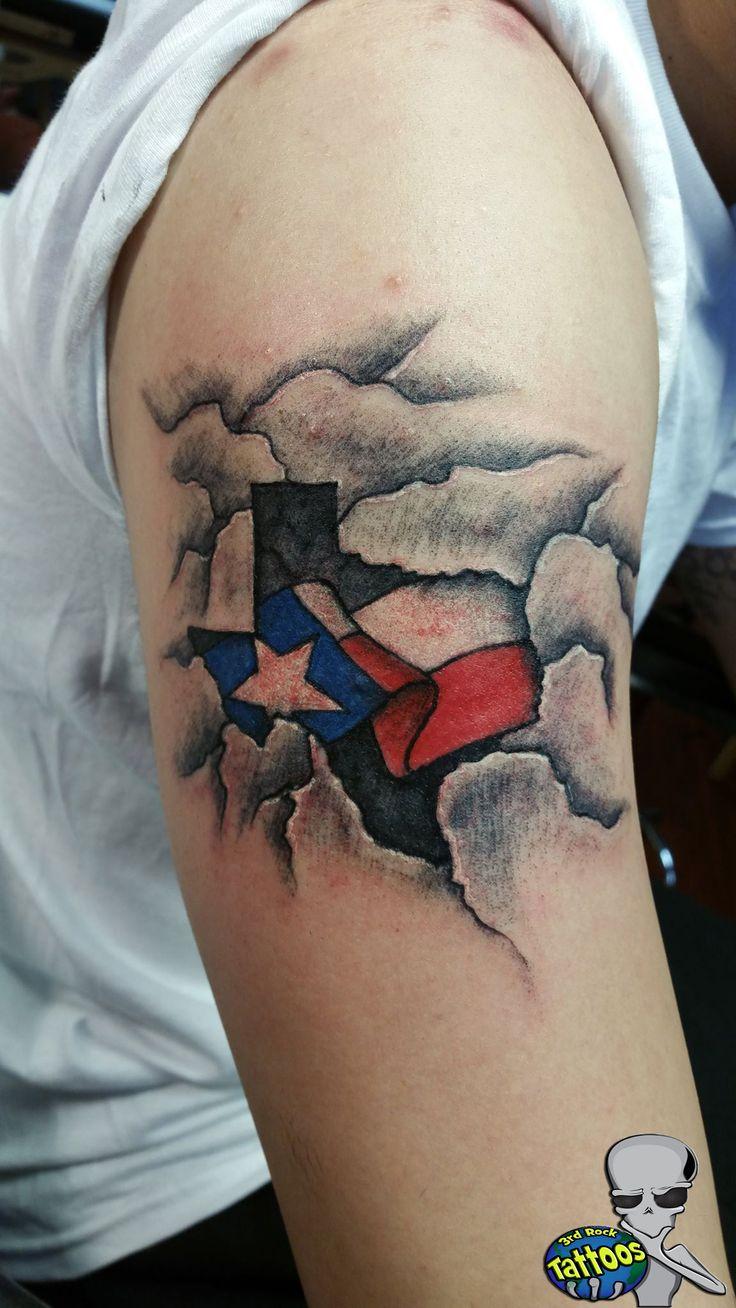 Texas flag tattoo by Wayne Frazier.   #Custom #Texas #flag #tattoos  #3rdrockgifts #3rdrocktattoos #Lakewood #Tacoma #JBLM #Washington #PNW