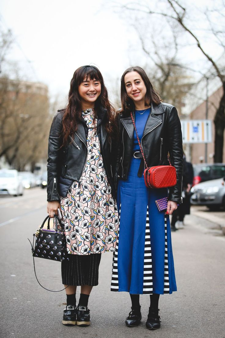 70+ Photos Of Milan's Most Over-The-Top Street Style #refinery29  http://www.refinery29.com/2016/03/104781/milan-fashion-week-fall-winter-2016-street-style-pictures#slide-63  One leather jacket, two totally different ways to wear it....