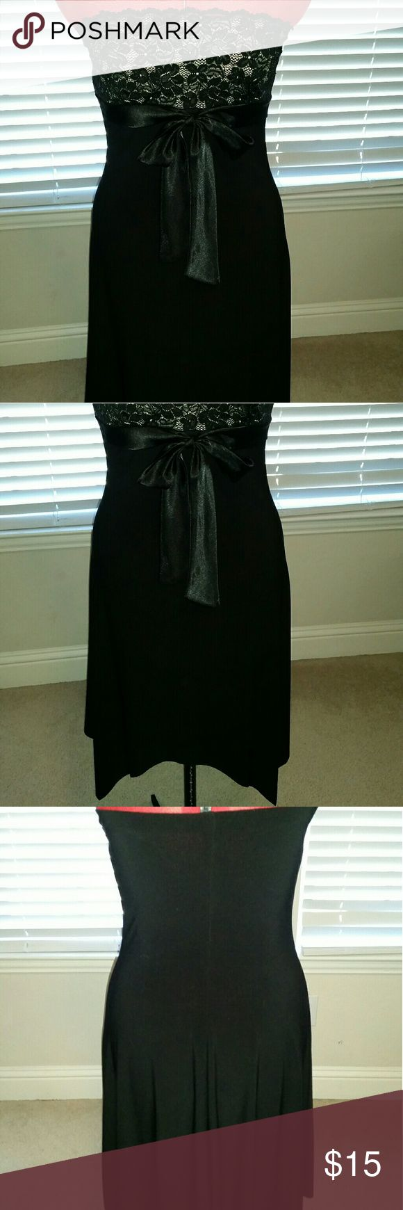 Black lace stretch cocktail dress Has a silk ribbon that ties in the front. Best little black dress I've ever had and I was sad it no longer fits. Wet Seal Dresses Strapless