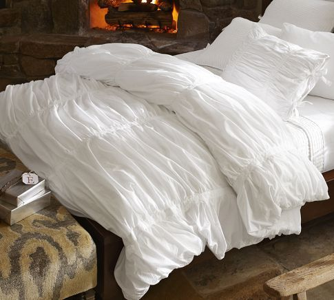 Hadley Ruched Duvet Cover & Sham - White | Pottery Barn  Pretty sure our…